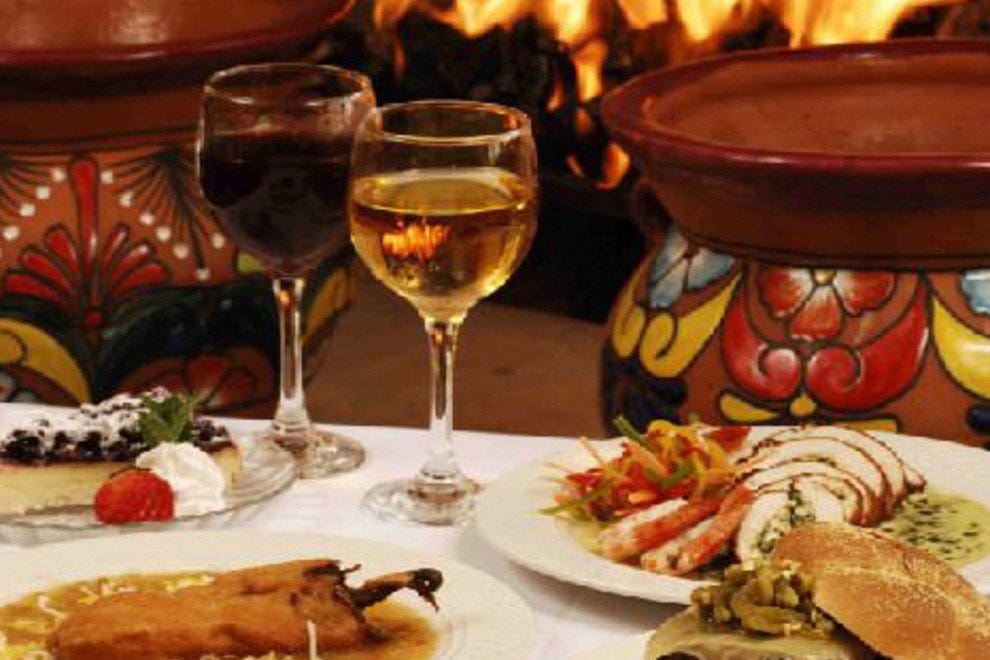 Chile, a local wine and a roaring fire make the perfect New Mexico meal.
