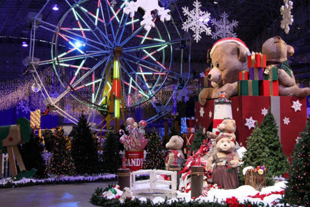 Winter Wonderfest at Navy Pier with a Ferris wheel and teddy bear display.