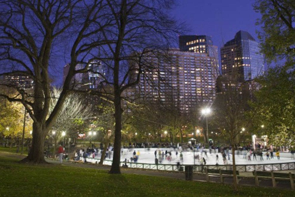 View of the ice rink at the Frog Pond at Boston Common.