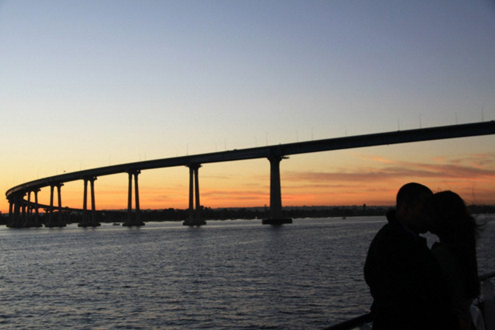 A sunset view on the Coronado Bay Bridge always inspires romance.