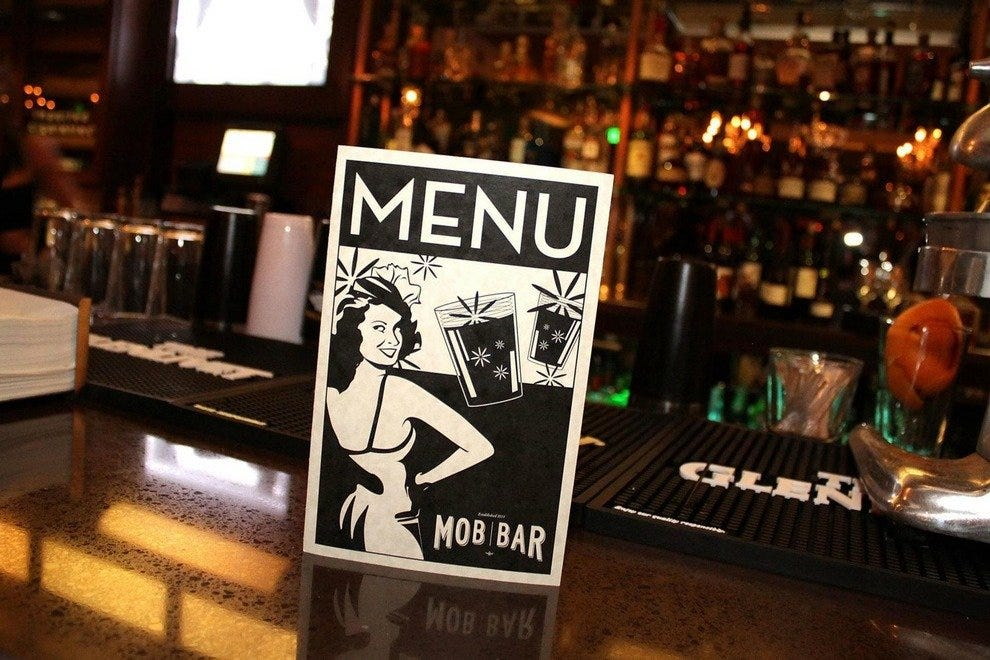 Vintage menu on the bar at Downtown Vegas' Mob Bar