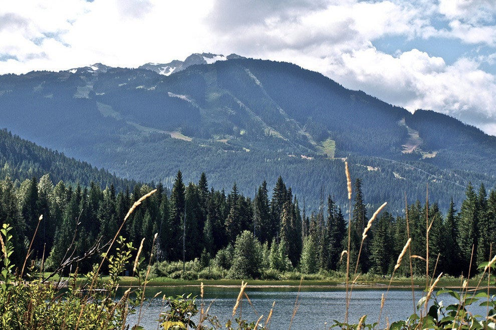Cool down in Lost Lake and enjoy the view of Whistler Mountain