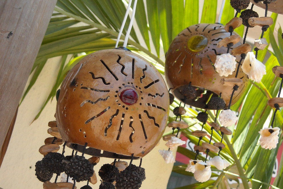 Hanging lamps, made from gourds. These whimsical creations can be found in Playa del Carmen, at a store called Jellyfish.