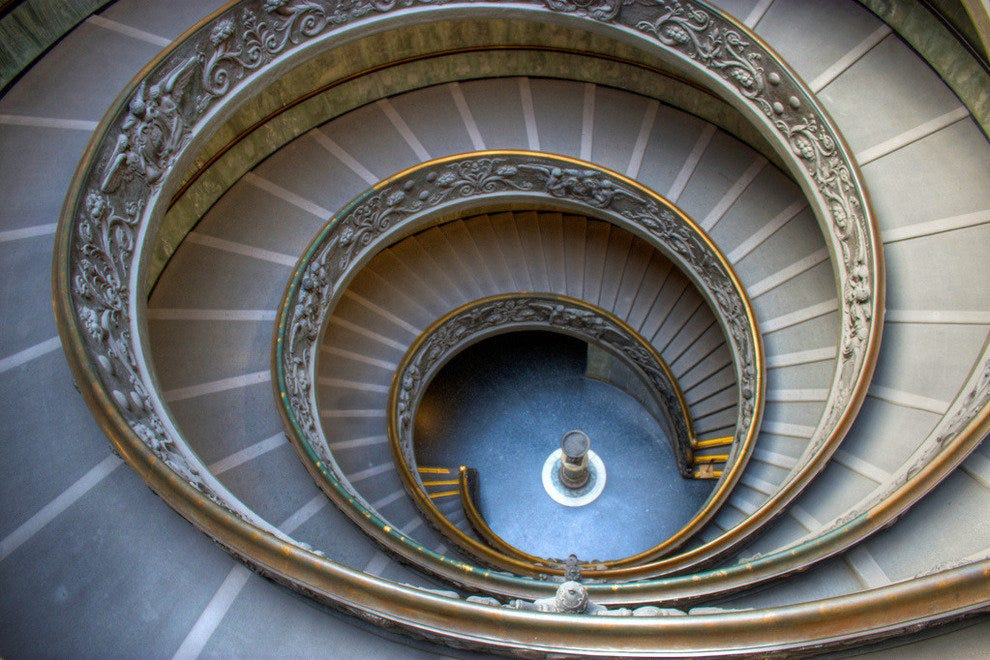 The Spiraling Staircase at the Vatican Musuems