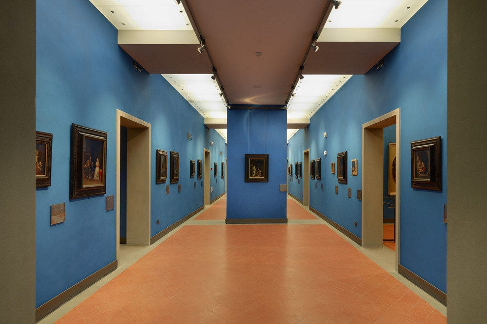 Blue walls and complimenting terracotta