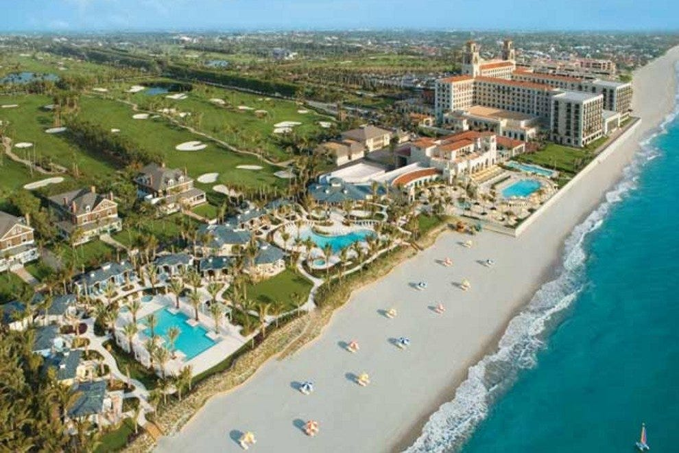 An aerial view of The Breakers showcases its size and beauty