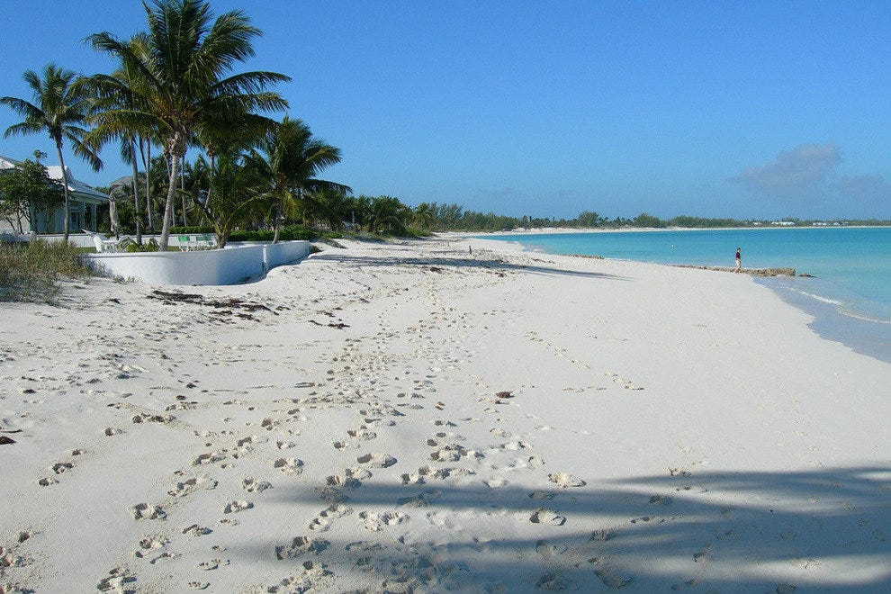 Footsteps in the soft sand of Treasure Cay Beach