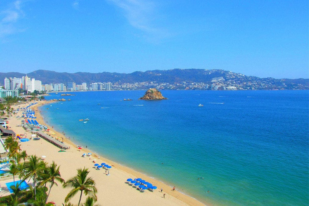 An aerial view shows off the technicolor beauty of an Acapulco beach
