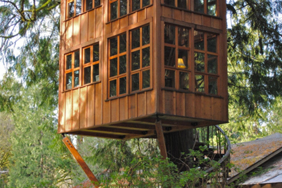 photo courtesy of treehouse pointwith whimsical names such as trillium temple of the moon and greek gazebo each hand crafted log and - Treehouse Masters Prices