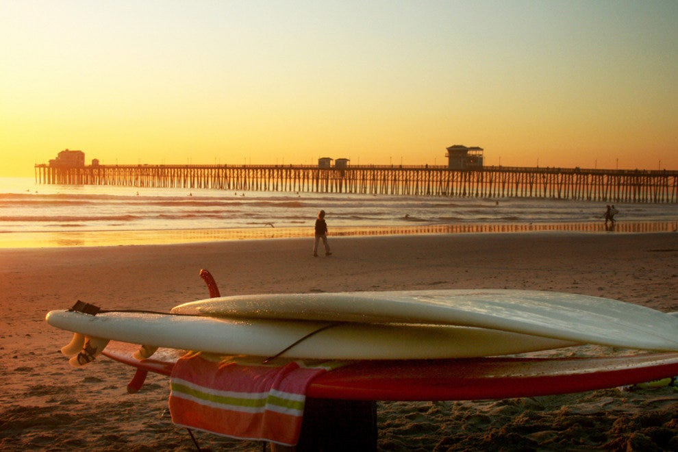 San Diego Beaches, Surfboards at Oceanside Pier