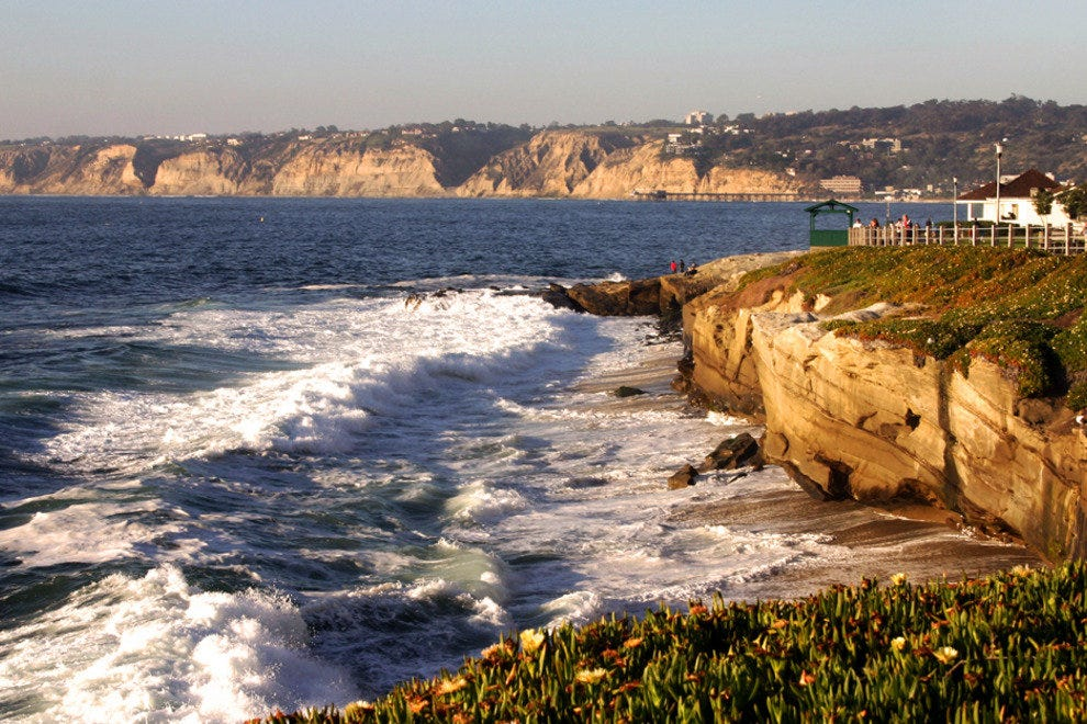 San Diego Beaches, View from Walking Path on to La Jolla Shores