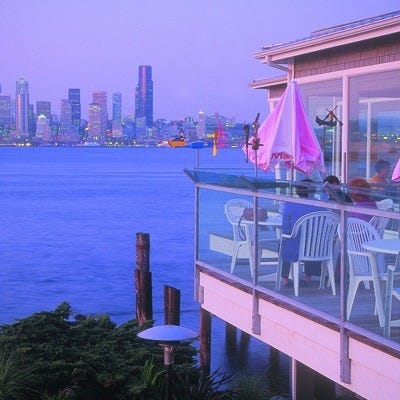 The view from Salty's on Alki Beach Seafood Grill is spectacular!