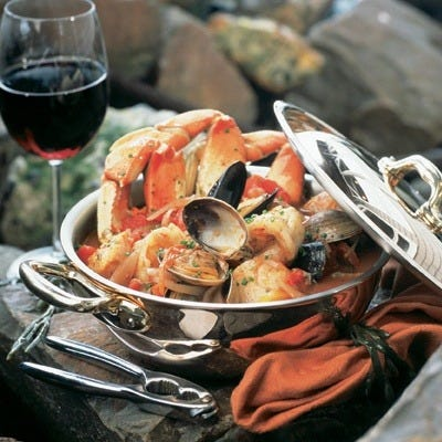 Salty's cioppino, seafood stew, is chock full of fresh Northwest seafood.