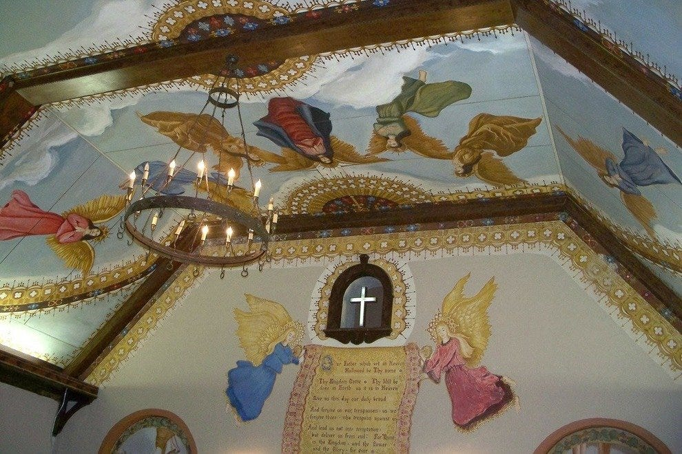 The murals inside the Holy City Chapel