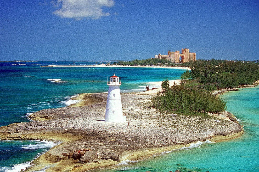 The Caribbean water is aquamarine and clear as can be, in Nassau, Bahamas