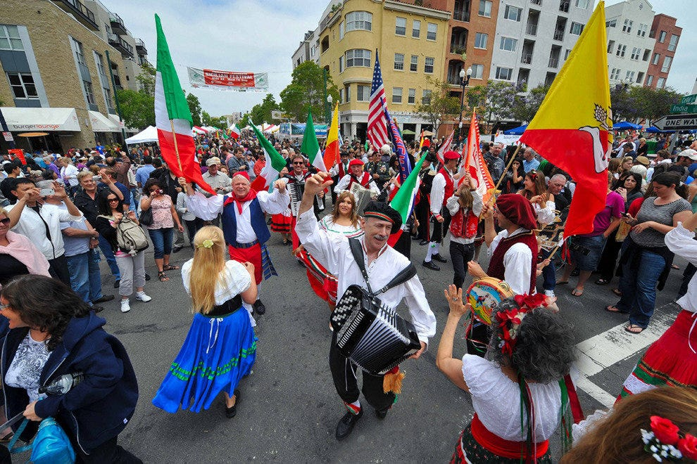 Get an authentic taste of Italy in San Diego's historic Little Italy neighborhood. Dancing in the street is part of the colorful Sicilian Festival held each May.