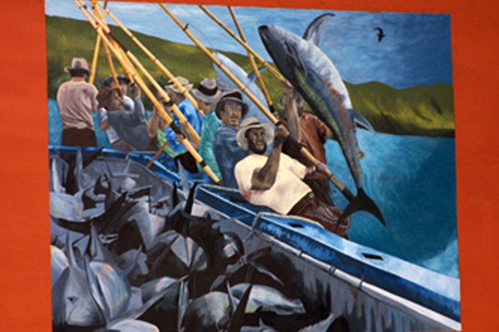 This wall mural, one of many in the neighborhood, celebrates the Italian immigrants who worked in  San Diego's tuna fishing industry.