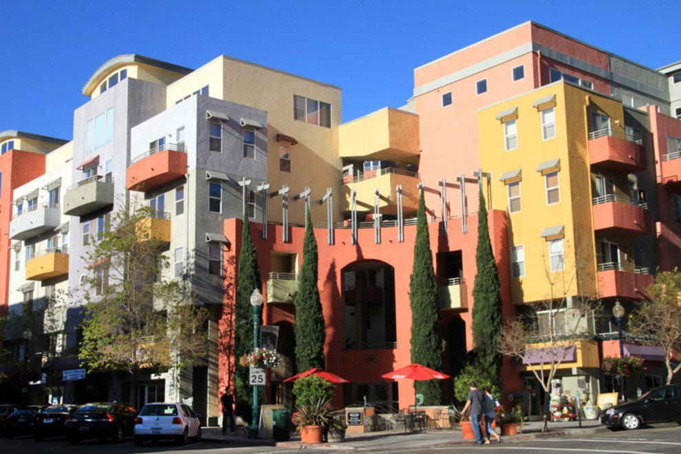 Colorful architecture with an Italian theme helps define San Diego's Little Italy neighborhood.