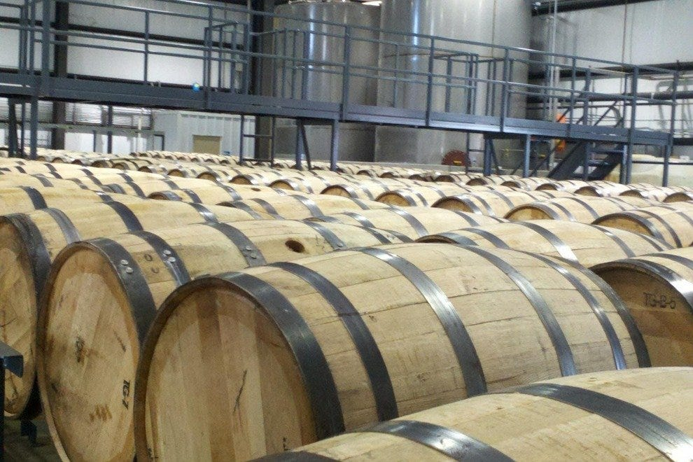 White oak barrels contain aging bourbon
