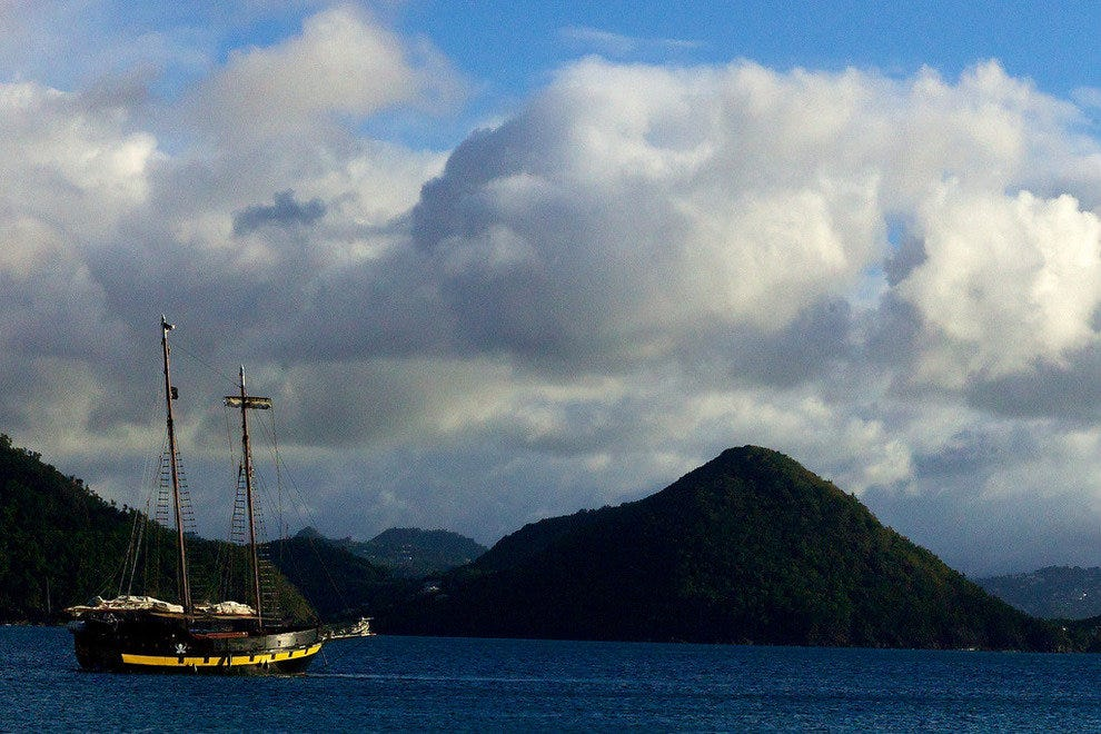 Boat in a bay, Saint Lucia