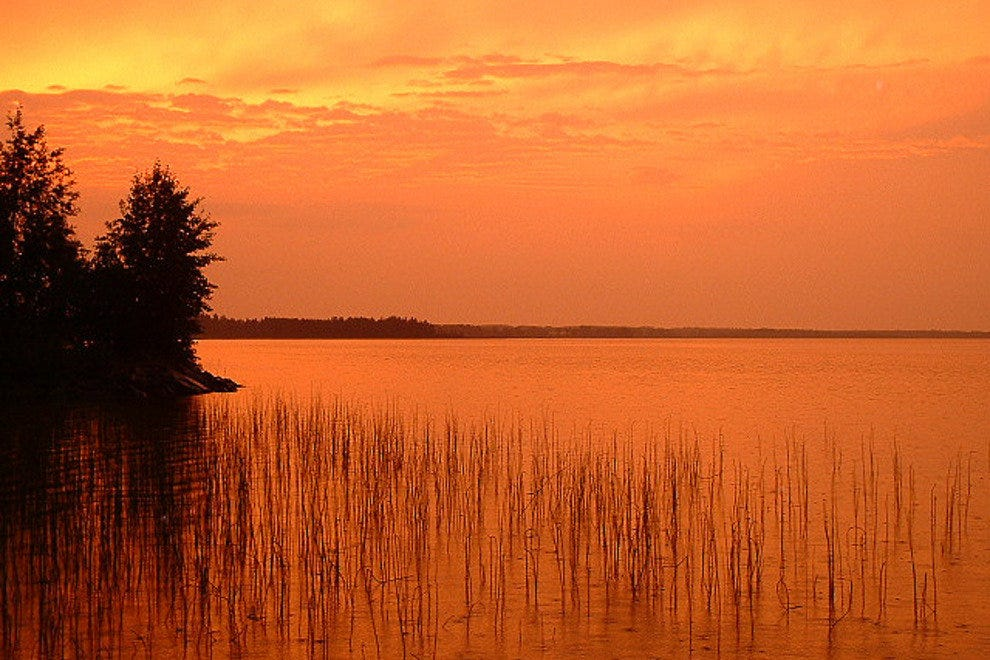 Sunset over lake in Finland