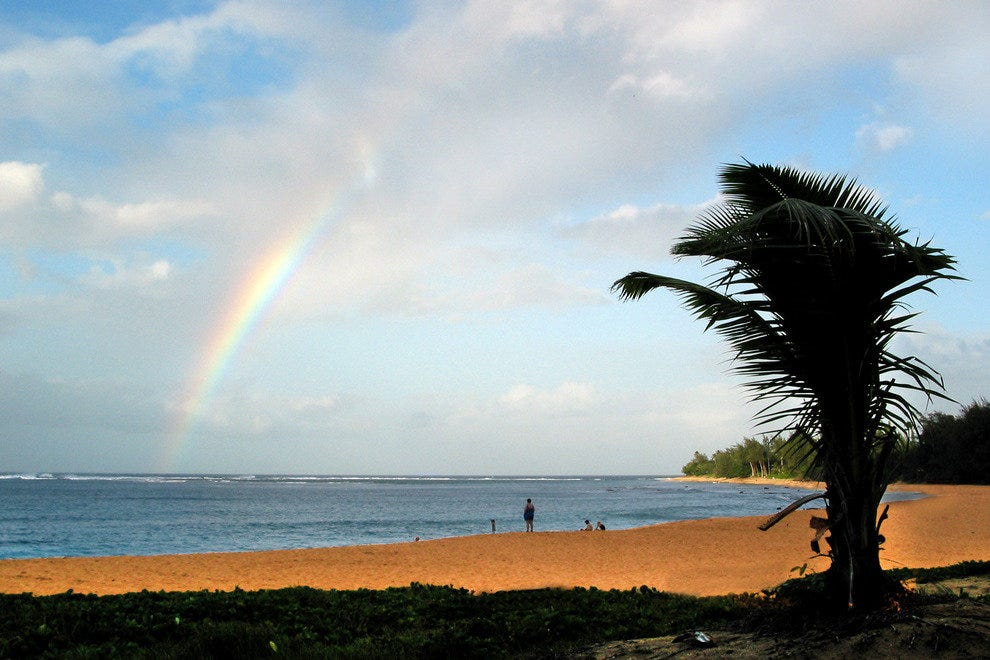 Kauai, Rainbow Over North Shore Beach