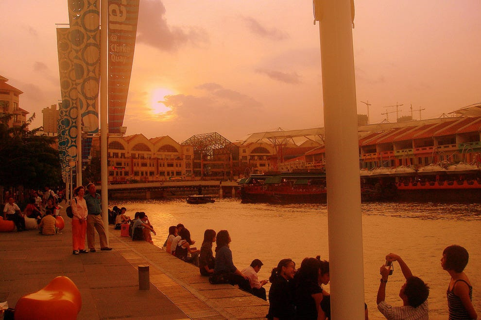 The Singapore River at dusk