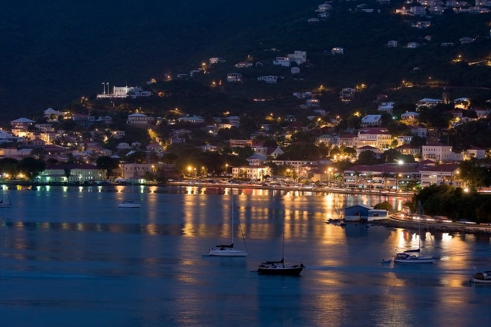 St. Thomas harbor at night