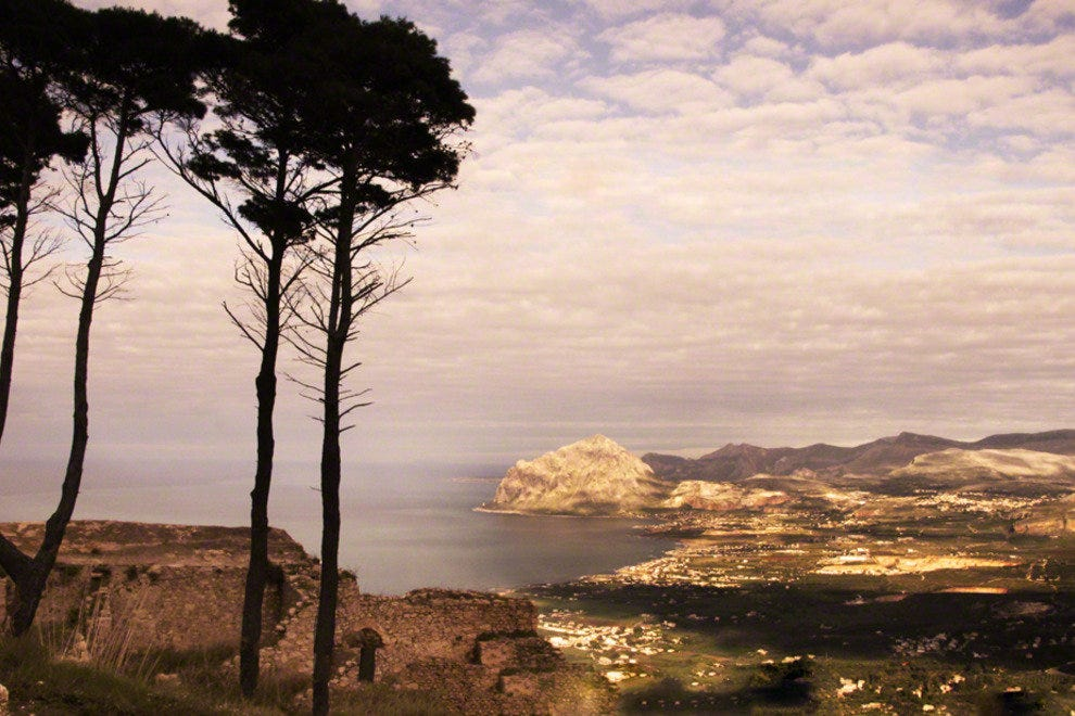 Sicily, View on Shore from Erice