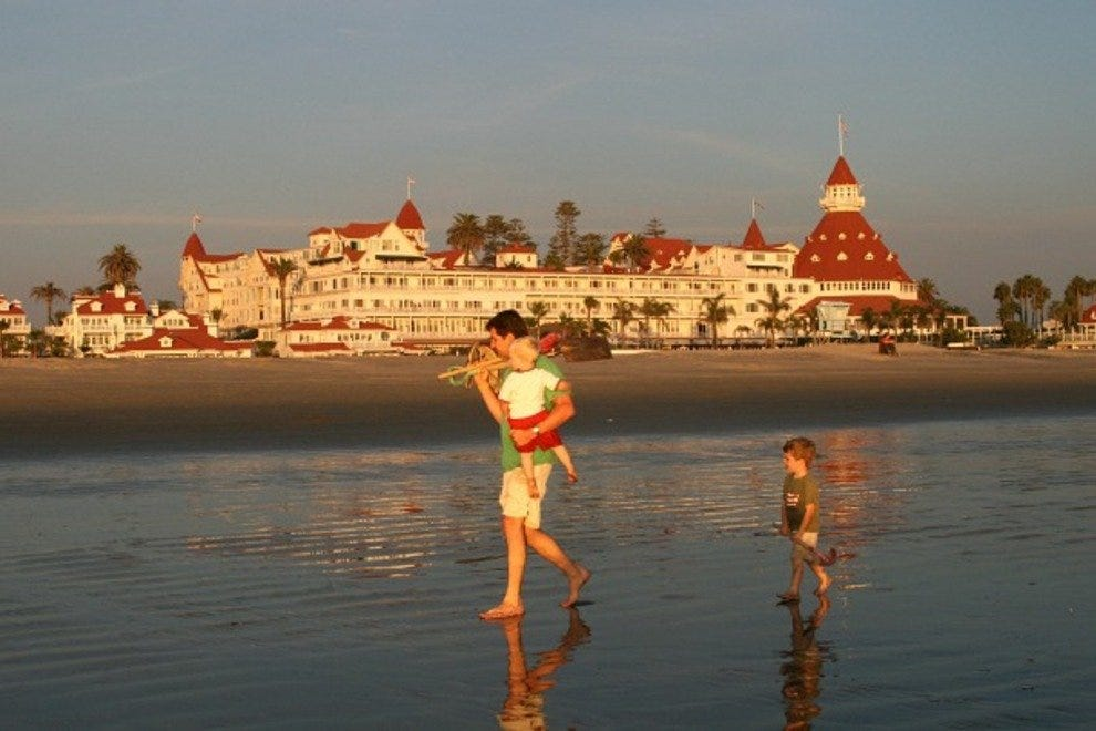 Family On Beach In Front Of Hotel Del Coronado