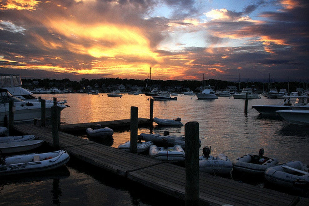 Sunrise over the harbor on Martha's Vineyard