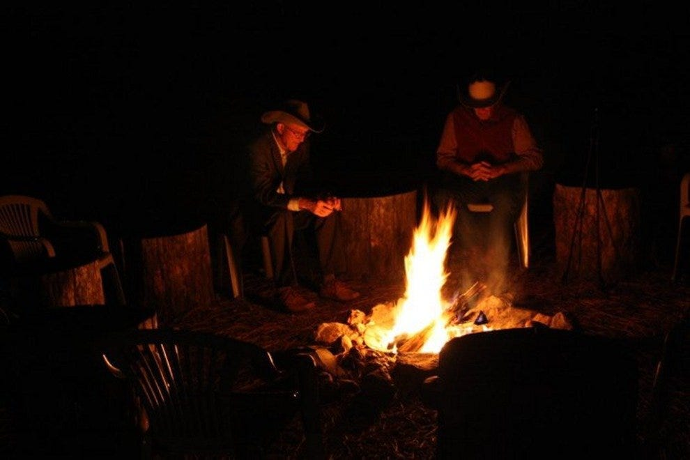 Trade stories around a campfire