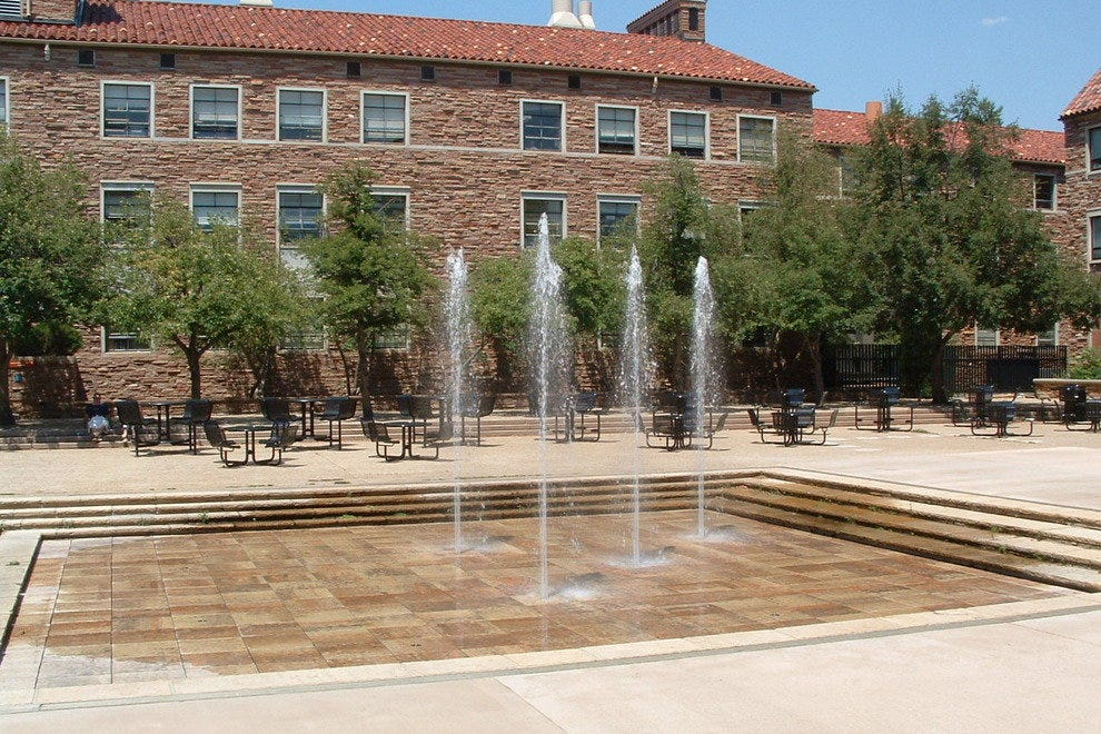 Fountains in front of the chemistry building at the UMC courtyard at CU-Boulder.