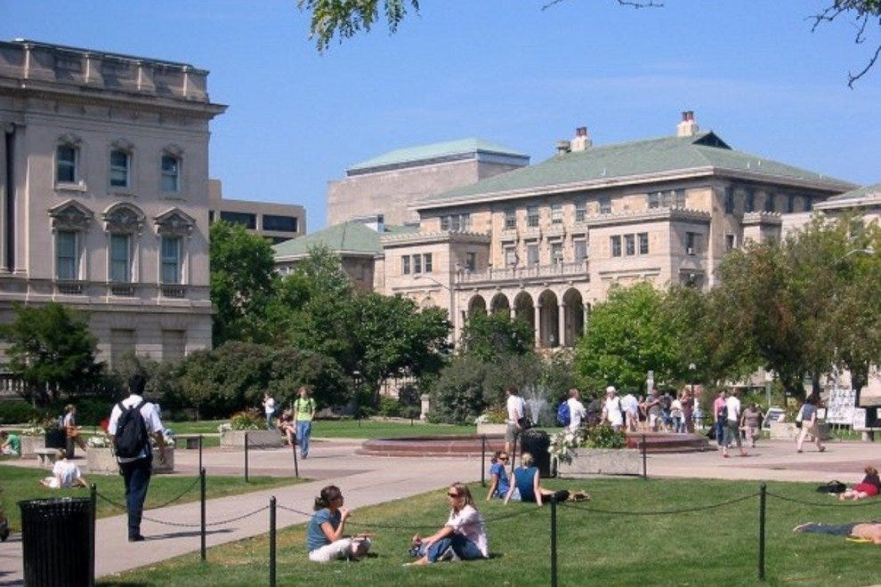 The Memorial Union as seen from the Library Mall on the UW-Madison campus.