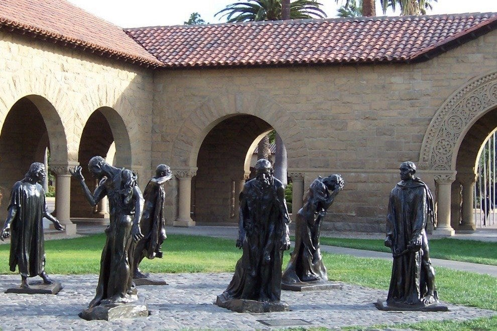 Bronze statues by Auguste Rodin can be found on the Stanford campus at Palo Alto, CA.