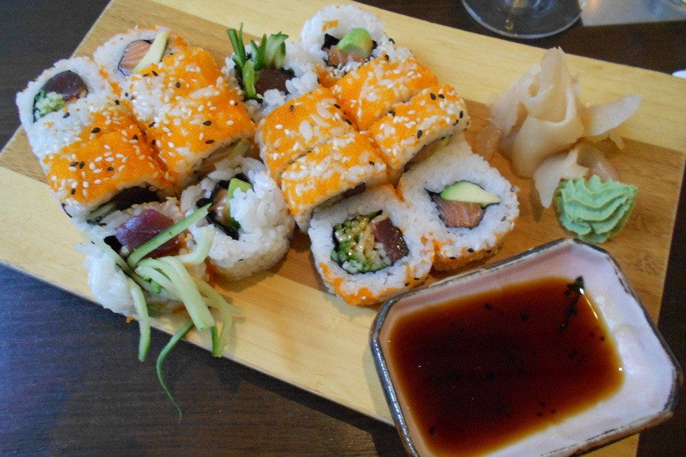 Spicy Salmon and Rainbow inside out rolls from Aiko