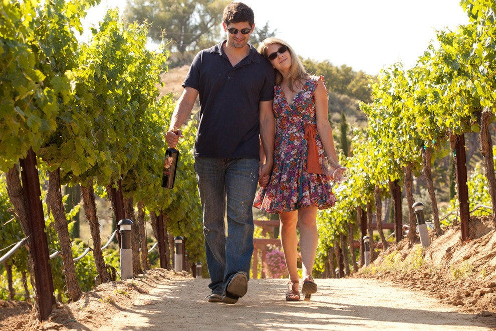 Couple walking through a vineyard