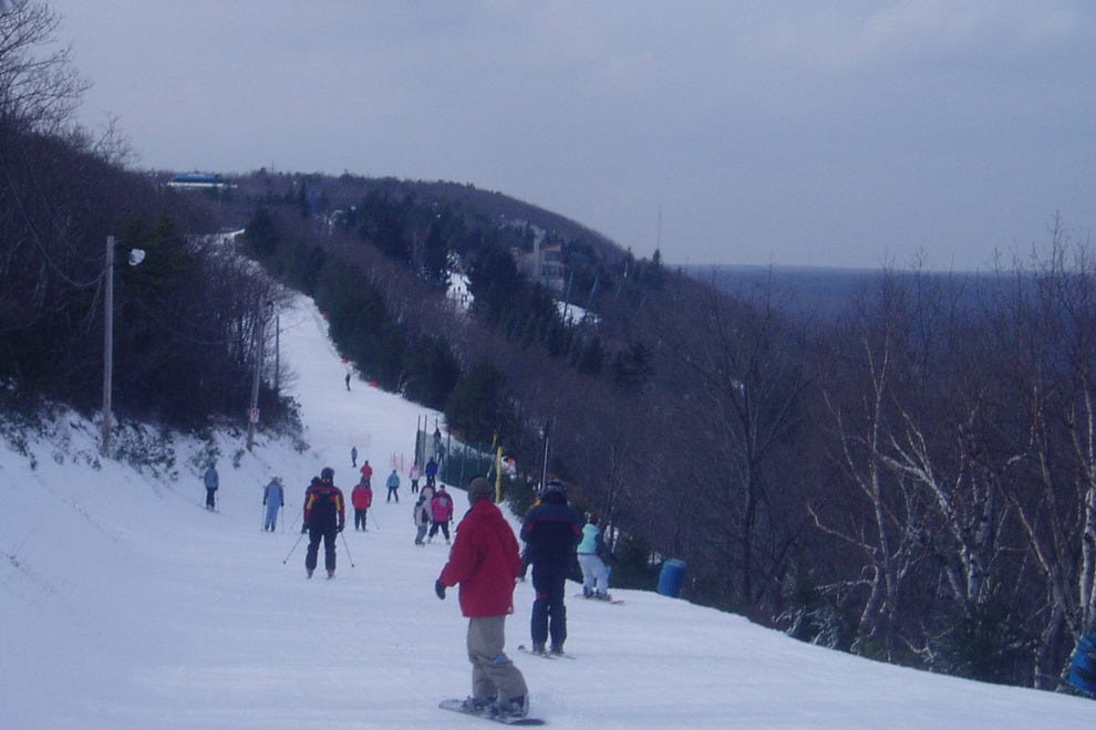 Skiers hit the slopes at Camelback.