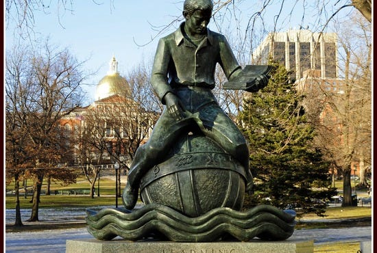 "The ""Learning"" statue in Parkman Plaza located in Boston Common, America's oldest park; Boston, Massachusetts."