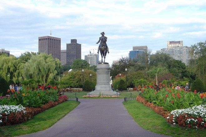 The Boston Public Garden from the Arlington Street entrance.
