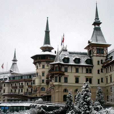 The spires of Zurich's snow-dusted Dolder Grand Hotel.