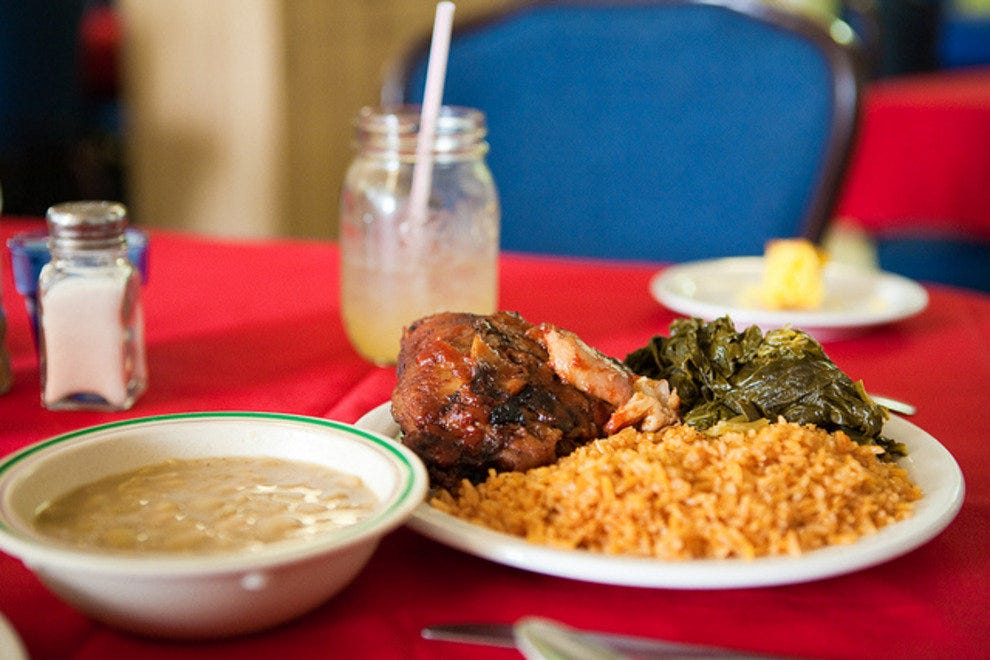 Traditional Gullah cuisine at the Gullah Grub Restaurant on Saint Helena Island.