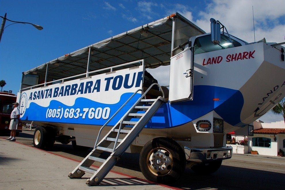 All aboard! Set sail on the Land Shark, Santa Barbara's famous amphibious touring vessel.