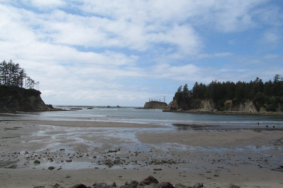 Sunset Bay on the Oregon Coast at low tide