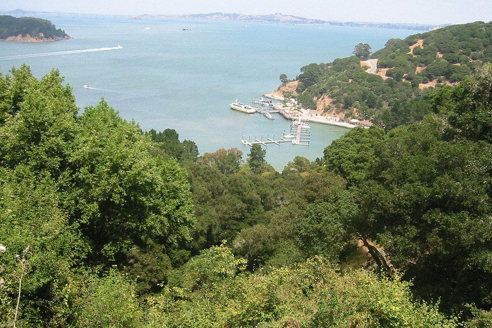 The view of the ferry dock on Angel Island