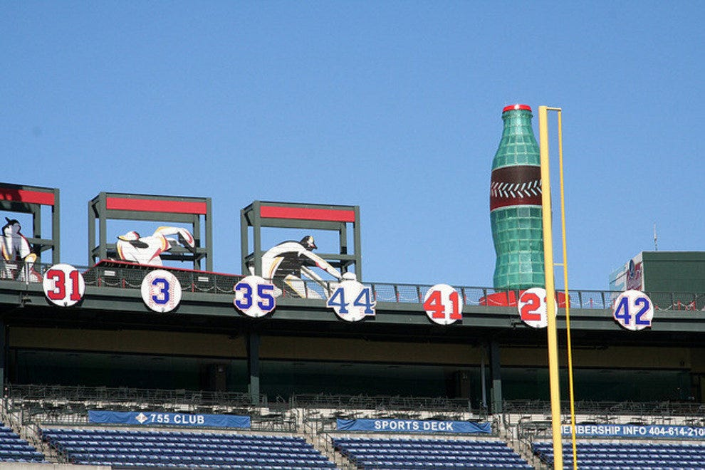 Retired Atlanta Braves numbers in the outfield of Turner Field