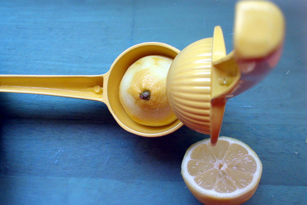 If you don't own an electric citrus press, consider purchasing an inexpensive hand-held lemon squeezer