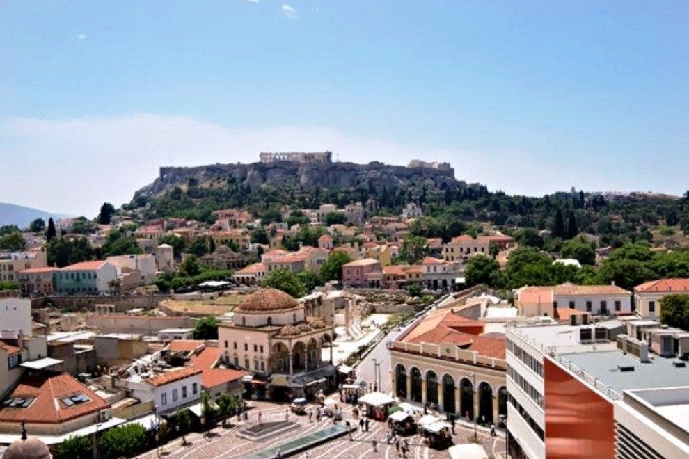View of Monastiraki square and Acropolis