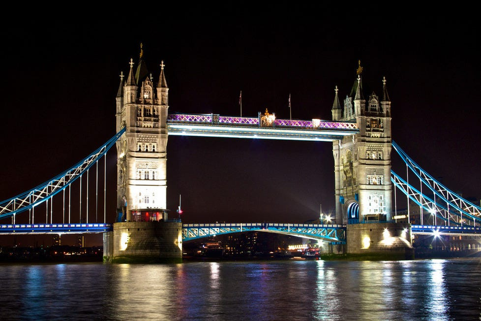 Postcard Perfect London Tower Bridge At Night