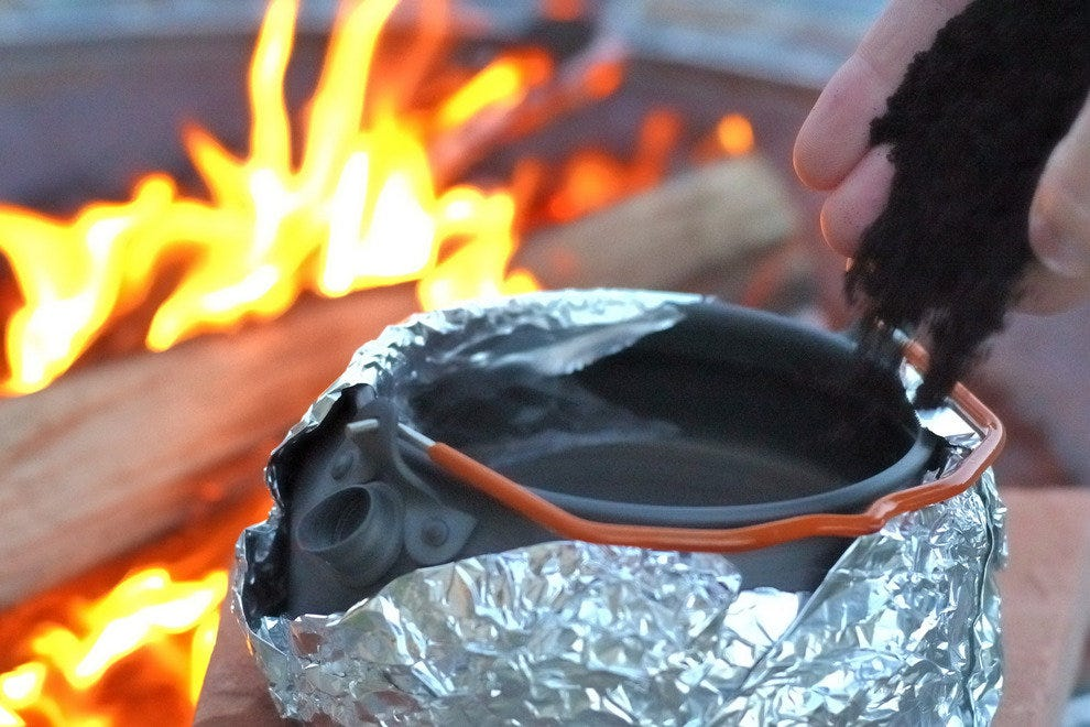 Wrapping the bottom of the pot with tin foil makes cleaning easier